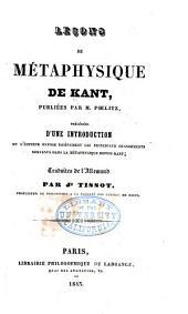 Leçons de métaphysique de Kant