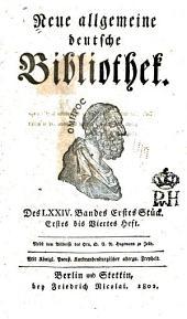 Neue allgemeine deutsche Bibliothek: Band 74
