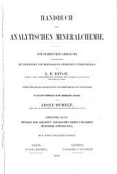 Handbuch der analytischen Mineralchemie: Metalle der alkalien, alkalischen erden und erden, besondere anwendungen
