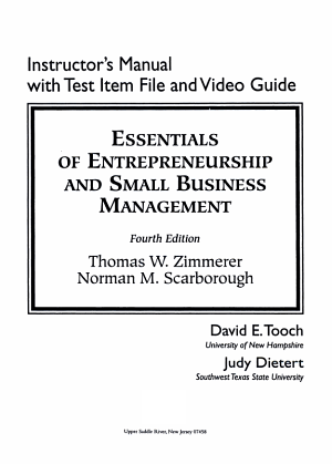 Essentials of Entrepreneurship and Small Business Management  InstructorManual with Test Item File PDF