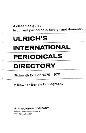 Ulrich's International Periodicals Directory