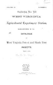 Catalogue of West Virginia Forest and Shade Tree Insects