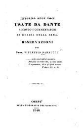 Intorno alle voci usate de Dante, secondo i commentatori, in grazia della rima