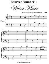 Bourree Number 1 the Water Music Easy Piano Sheet Music