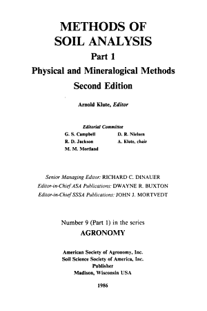Methods of Soil Analysis  Physical and mineralogical methods PDF