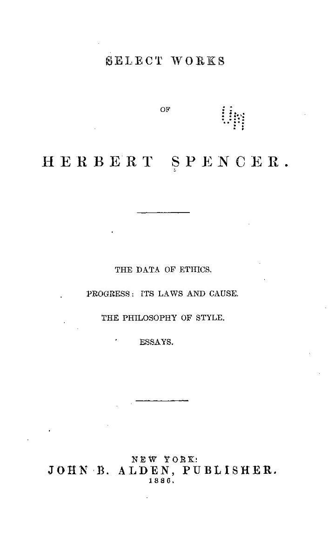 Select Works of Herbert Spencer