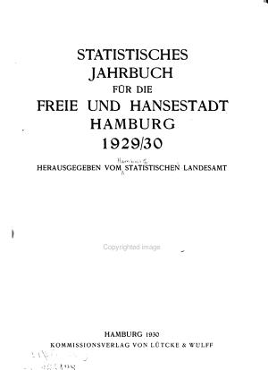 Statistisches Jahrbuch f  r die freie und Hansestadt Hamburg PDF