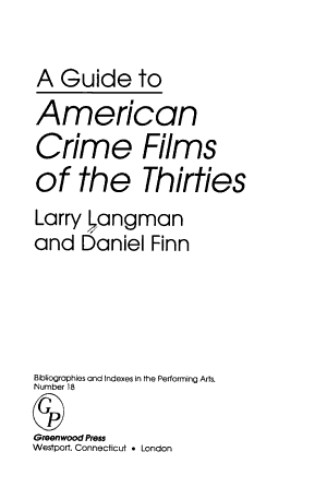 A Guide to American Crime Films of the Thirties