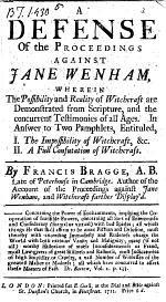 A Defense of the Proceedings Against Jane Wenham