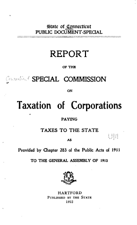 Report of the Special Commission on Taxation of Corporations Paying Taxes to the State PDF