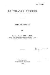 Balthasar Bekker: bibliografie