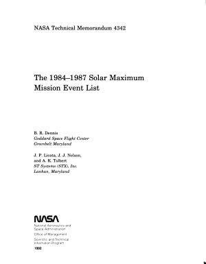 The 1984   1987 Solar Maximum Mission Event List