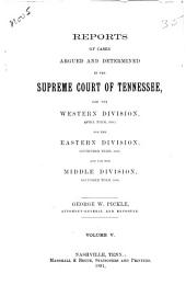 Reports of Cases Argued and Determined in the Supreme Court of Tennessee: Volume 89