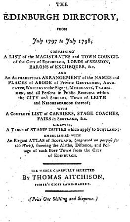 The Edinburgh Directory  from July 1797 to July 1798  PDF