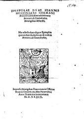 Epistolae duae ... de morte nobilissimi adolescentis Bernarti ab Emershofen ...