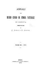 """Annali Del Museo Civico Di Storia Naturale """"Giacomo Doria"""".: Volume 13"""