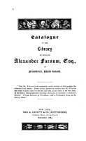 Catalogue of the Library of the Late Alexander Farnum of Providence  Rhode Island PDF