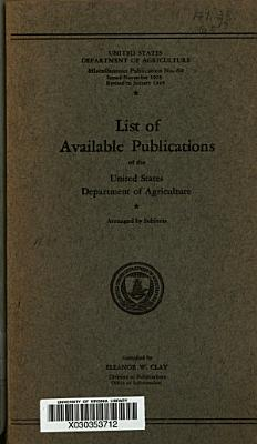 List of Available Publications of the United States Department of Agriculture PDF