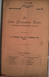 The Indian Homoeopathic Review: Volume 12