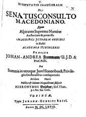 Disputatio Inauguralis De Senatusconsulto Macedoniano