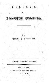 Lehrbuch der philosophischen Vorkenntnisse