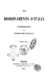 Del riordinamento d'Italia considerazioni di Ferdinando Ranalli