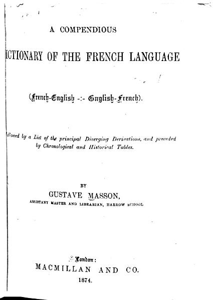 Download A Compendious Dictionary of the French Language  French  English   English French   Book