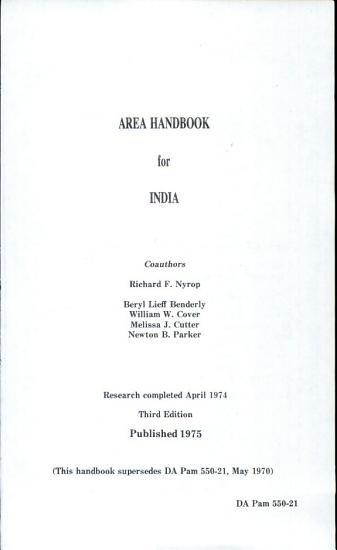 Area Handbook for India PDF