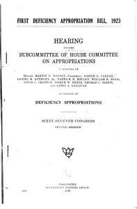 First Deficiency Appropriation Bill  1923 PDF