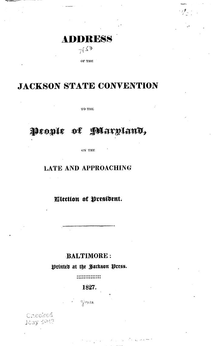 Address of the Jackson State Convention to the People of Maryland