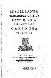 Miscellanea filologica, critica e antiquaria: Volume 1