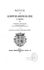 Notice sur le dépôt des archives de l'État, à Mons