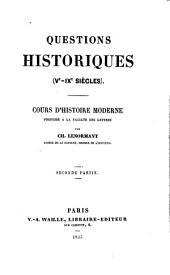 Questions historiques (Ve-IXe Siècles)