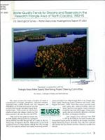 Water-quality Trends for Streams and Reservoirs in the Research Triangle Area of North Carolina, 1983-95