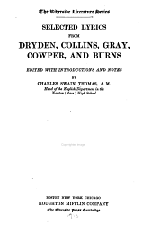Selected Lyrics from Dryden, Collins, Gray, Cowper, and Burns