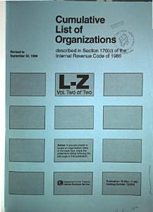 Cumulative List of Organizations Described in Section 170  c  of the Internal Revenue Code of 1986 Book