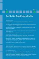 Archiv f  r Begriffsgeschichte  Band 58 PDF