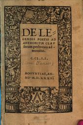 De legendis poetis ad Anthonium Clauserum perbrevis admonitio