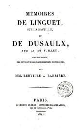Memoires De Linguet Sur La Bastille