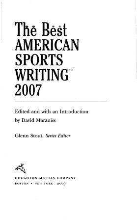 The Best American Sports Writing 2007 PDF