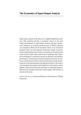 The Economics of Input Output Analysis PDF
