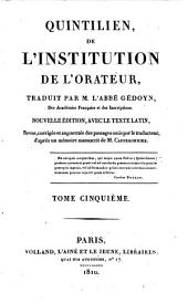De l'institution de l'orateur: Volume 5
