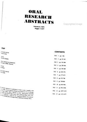 Oral Research Abstracts