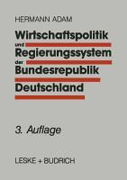 Wirtschaftspolitik und Regierungssystem der Bundesrepublik Deutschland PDF
