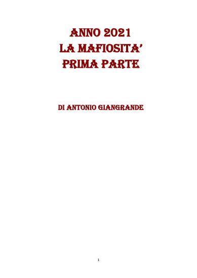 ANNO 2021 LA MAFIOSITA  PRIMA PARTE PDF