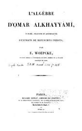 L'algébre d'Omar Alkhayyâmî