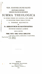 Summa theologica: De rerum creatione, distinctione et conservatione. De Angelis. De Homine