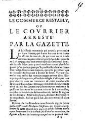 Le Commerce restably ou le courrier arreste par la gazette
