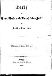 Tarif der ein-, aus- und durchfuhrzölle des zoll-vereins: Gültig vom 1. october 1851 an