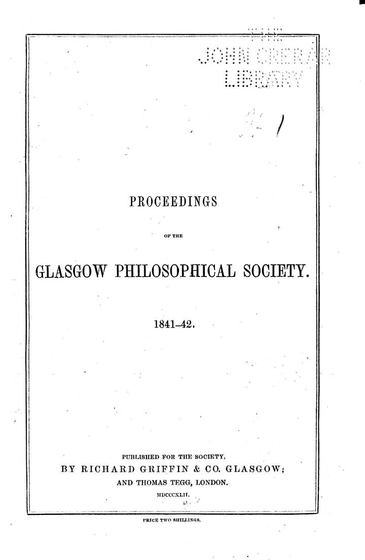Proceedings of the Royal Philosophical Society of Glasgow ...